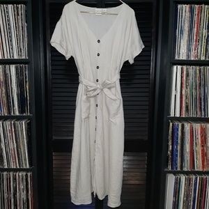 Rachel Zoe 100% Linen Full Length Button Up Dress